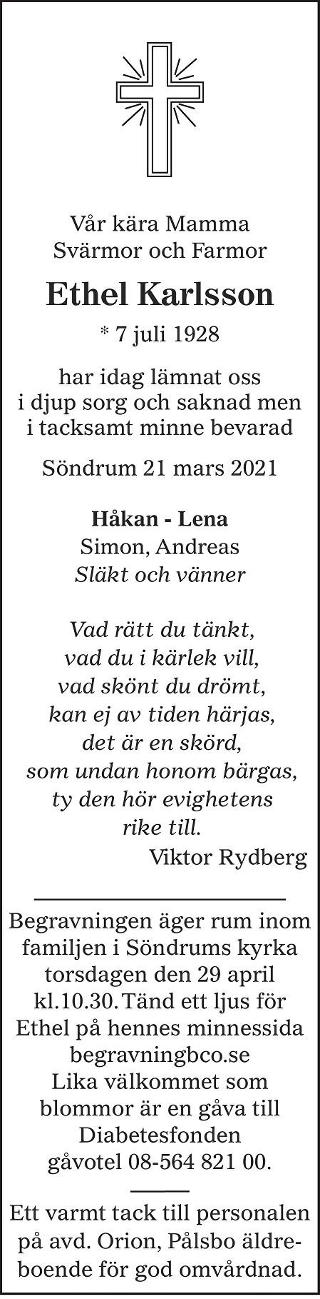 Ethel Karlsson Death notice