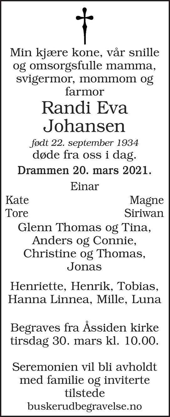 Randi Eva Johansen Dødsannonse