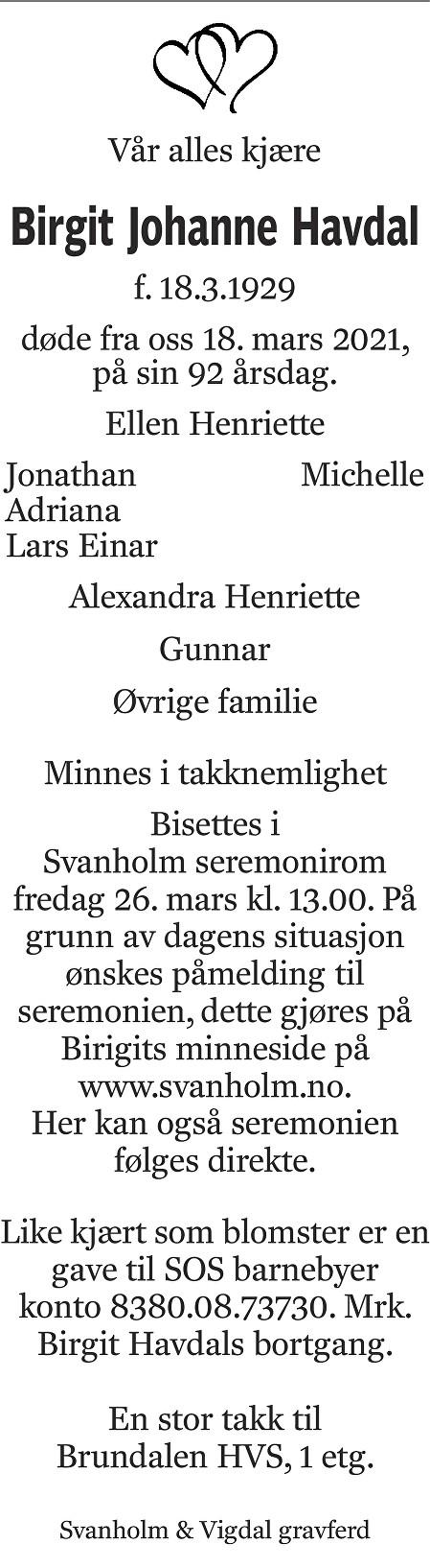 Birgit Johanne Havdal Dødsannonse
