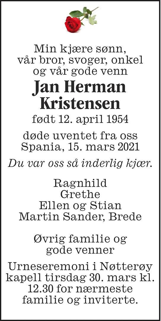Jan Herman Kristensen Dødsannonse