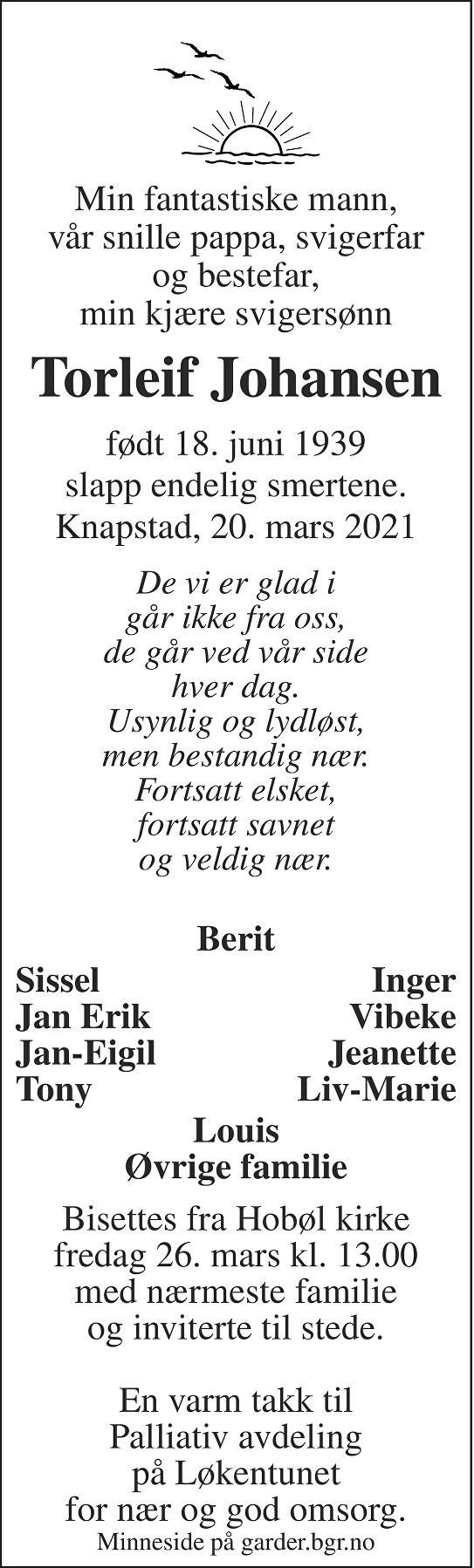 Torleif Johansen Dødsannonse