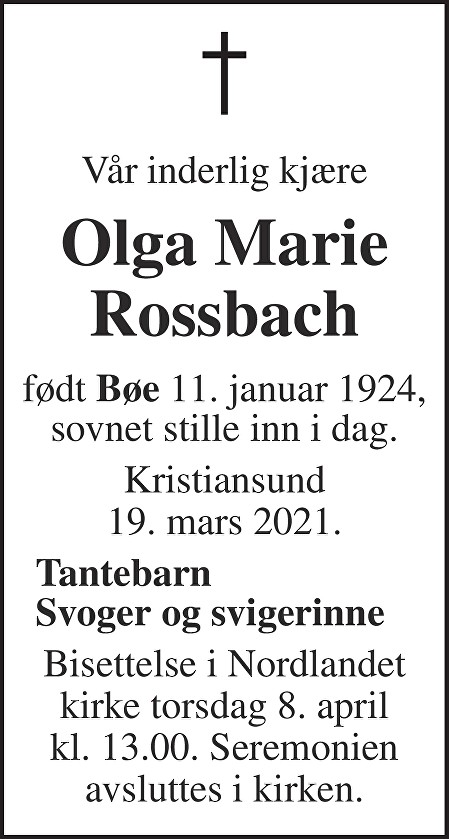 Olga Marie Rossbach Dødsannonse