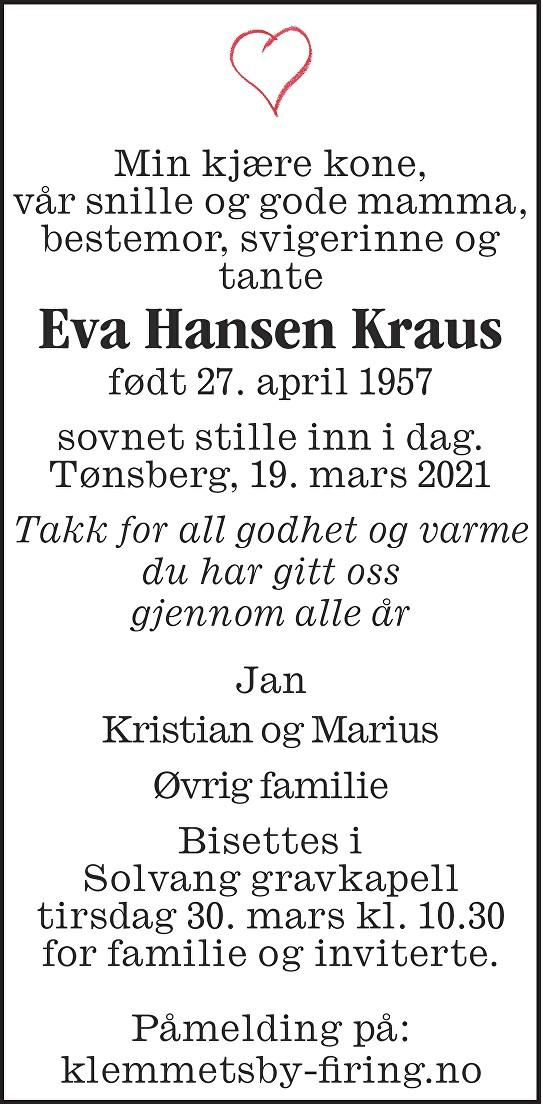 Eva Hansen Kraus Dødsannonse