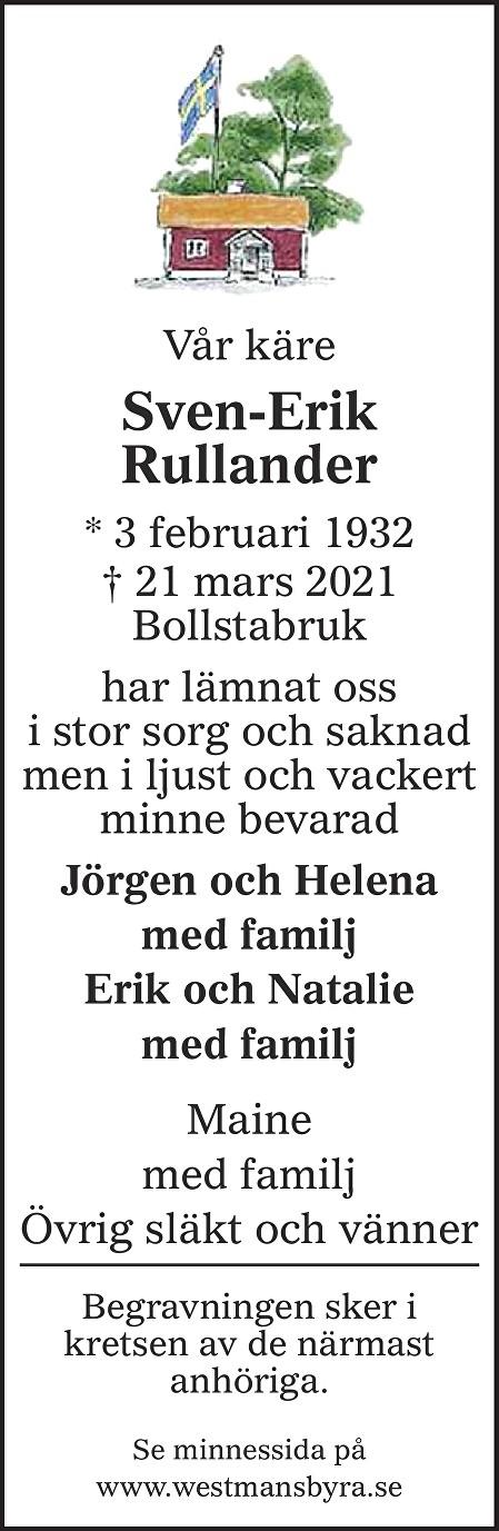 Sven-Erik Rullander Death notice
