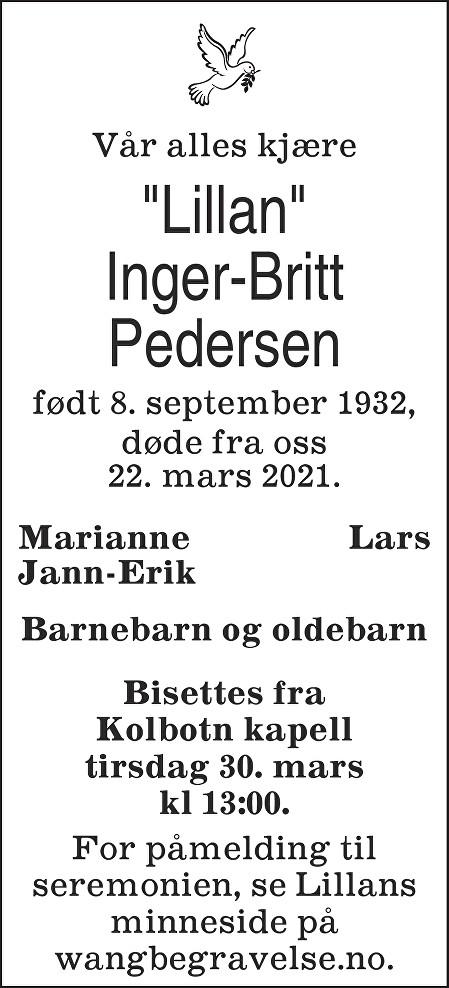Inger-Britt Pedersen Dødsannonse