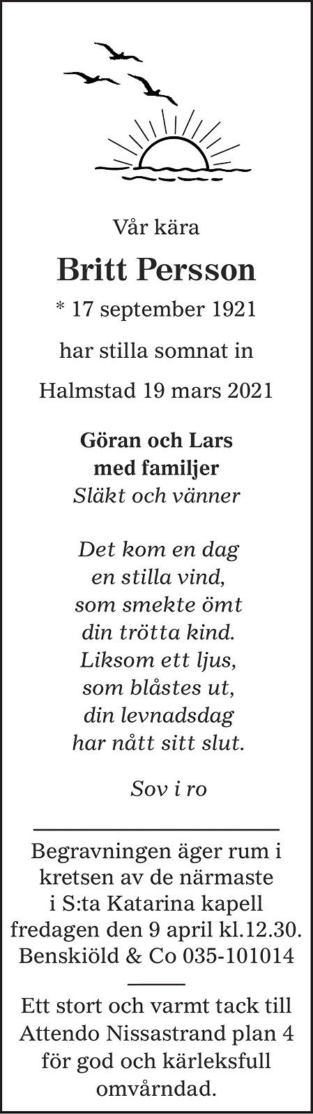 Britt Persson Death notice