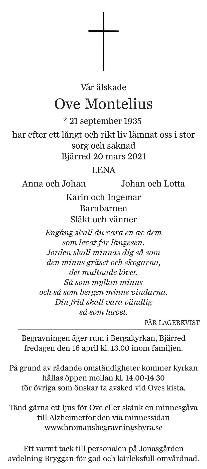 Ove Montelius Death notice