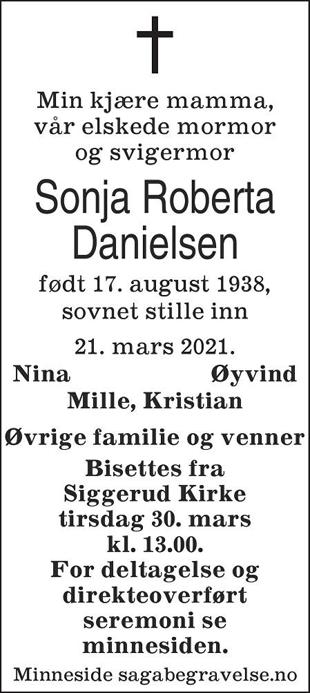 Sonja Roberta Danielsen Dødsannonse