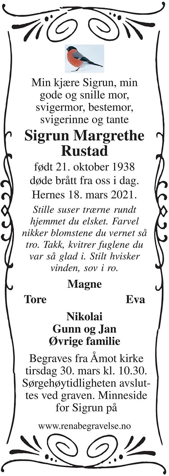 Sigrun Margrethe Rustad Dødsannonse