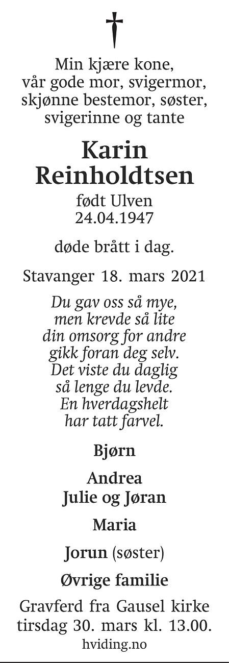 Karin Reinholdtsen Dødsannonse