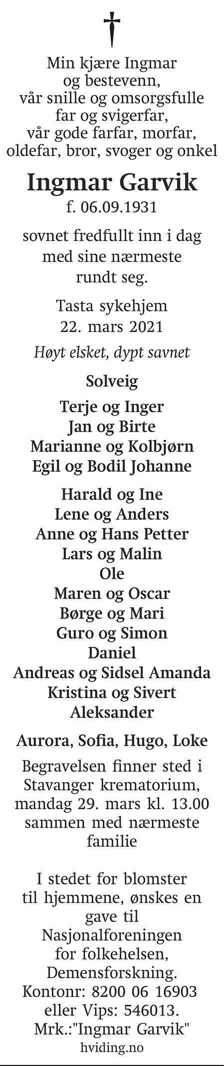 Ingmar Garvik Dødsannonse