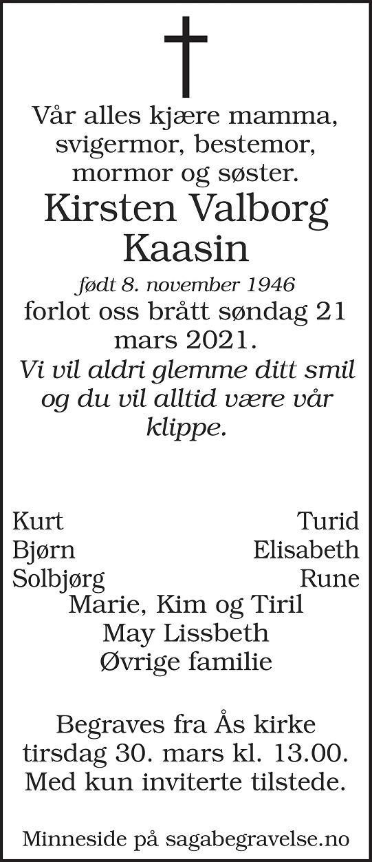 Kirsten Valborg Kaasin Dødsannonse