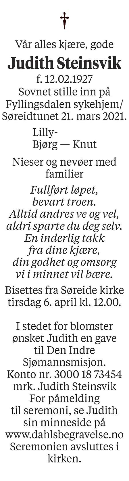 Judith Steinsvik Dødsannonse