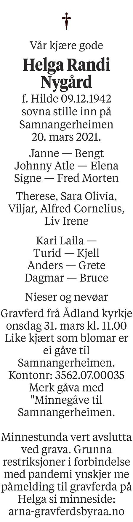 Helga Nygård Dødsannonse