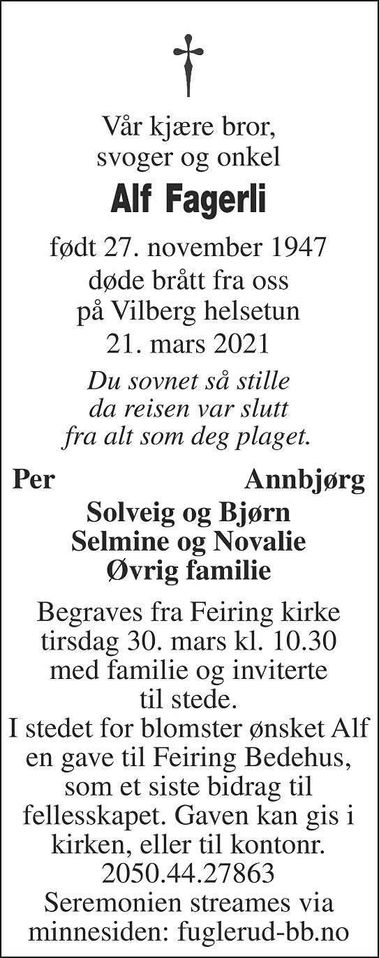 Alf Fagerli Dødsannonse