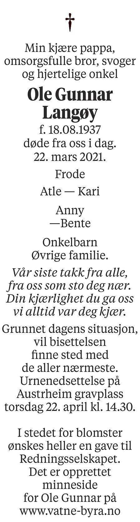 Ole Gunnar Langøy Dødsannonse