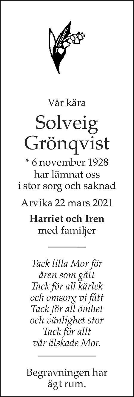 Solveig Grönqvist Death notice