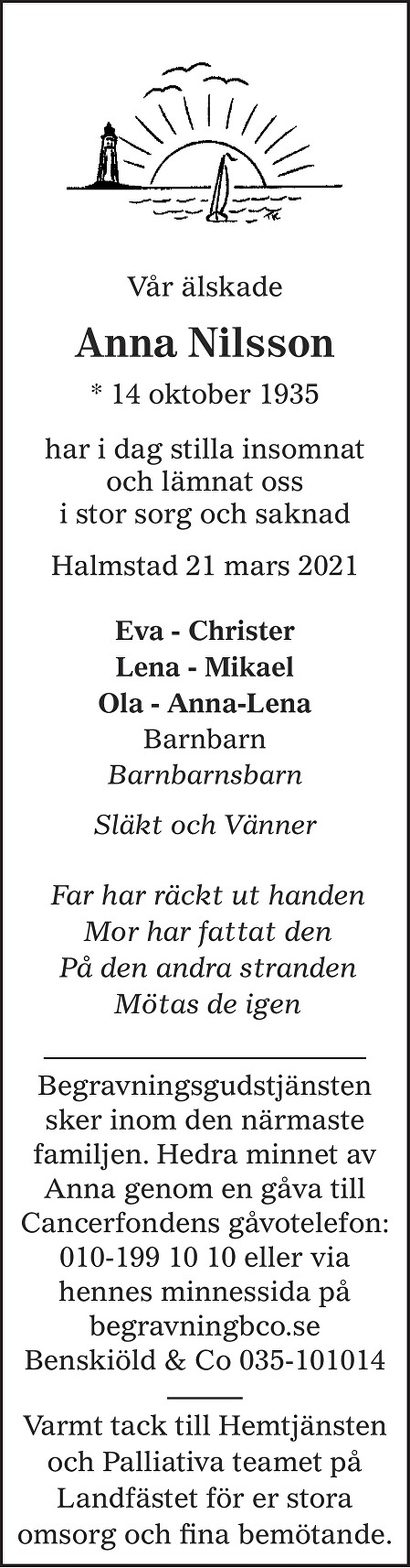 Anna Nilsson Death notice