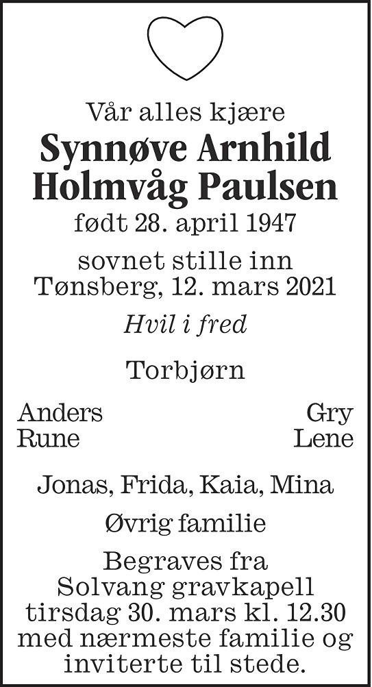 Synnøve Arnhild Holmvåg Paulsen Dødsannonse