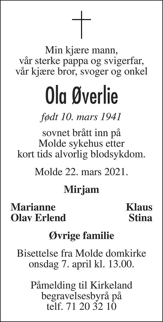 Ola Øverlie Dødsannonse