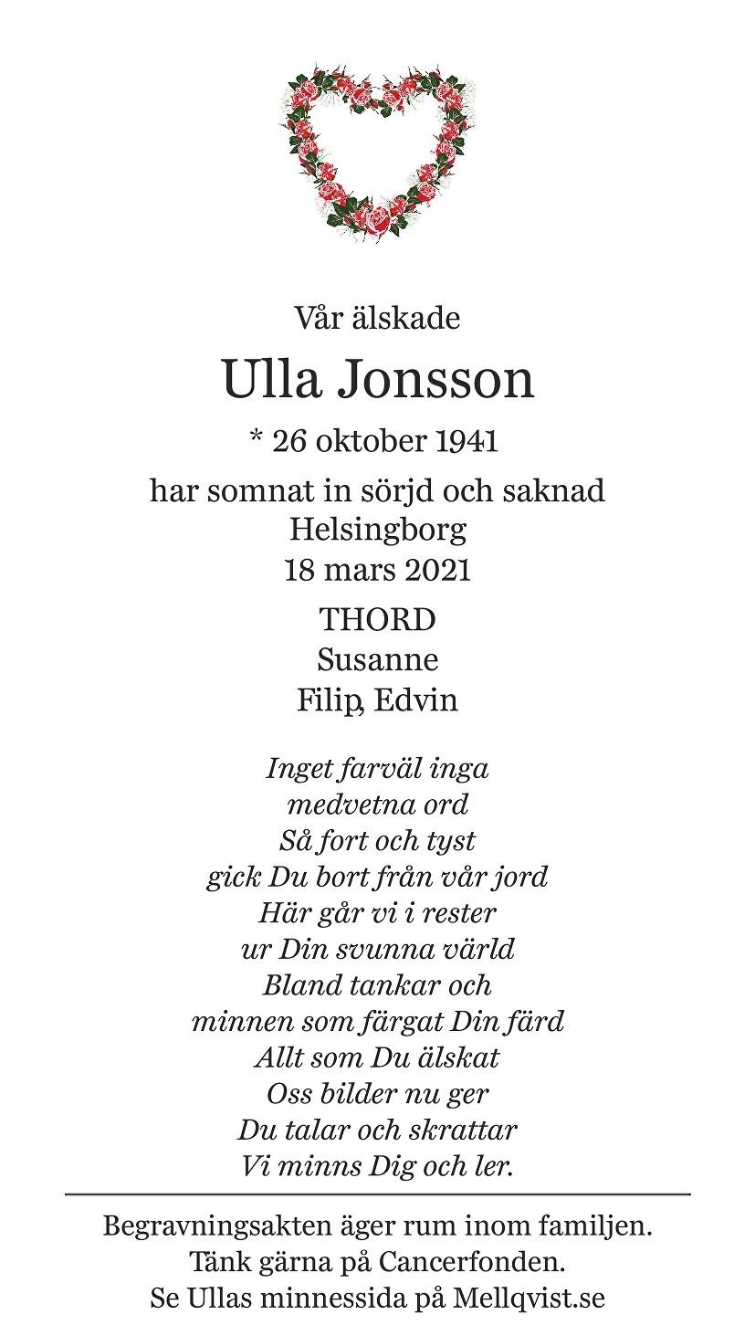 Ulla Jonsson Death notice