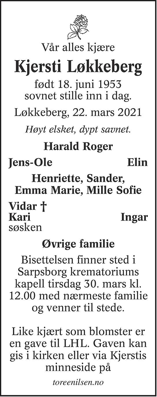 Kjersti Løkkeberg Dødsannonse