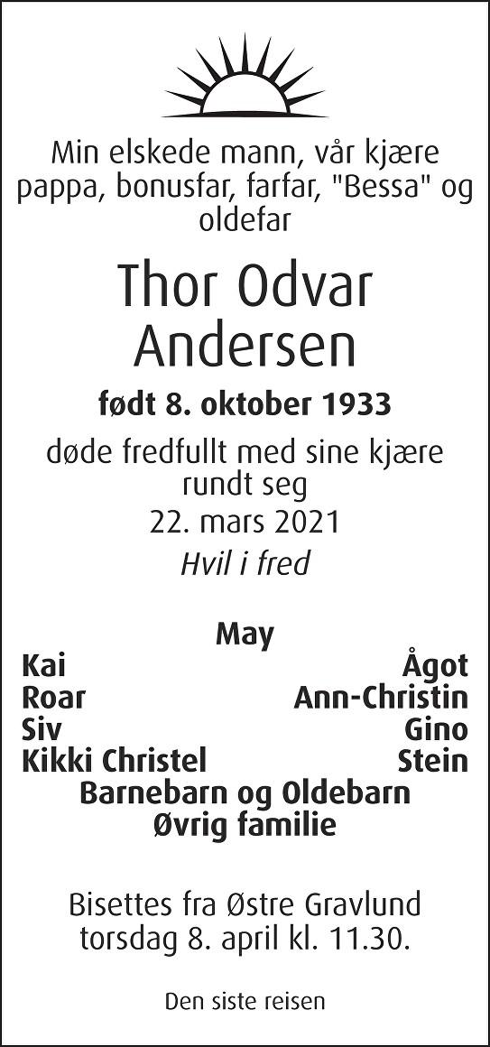 Thor Odvar Andersen Dødsannonse