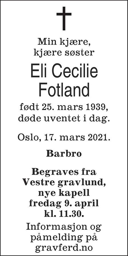 Eli Cecilie Fotland Dødsannonse