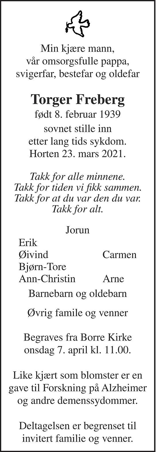 Torger Freberg Dødsannonse