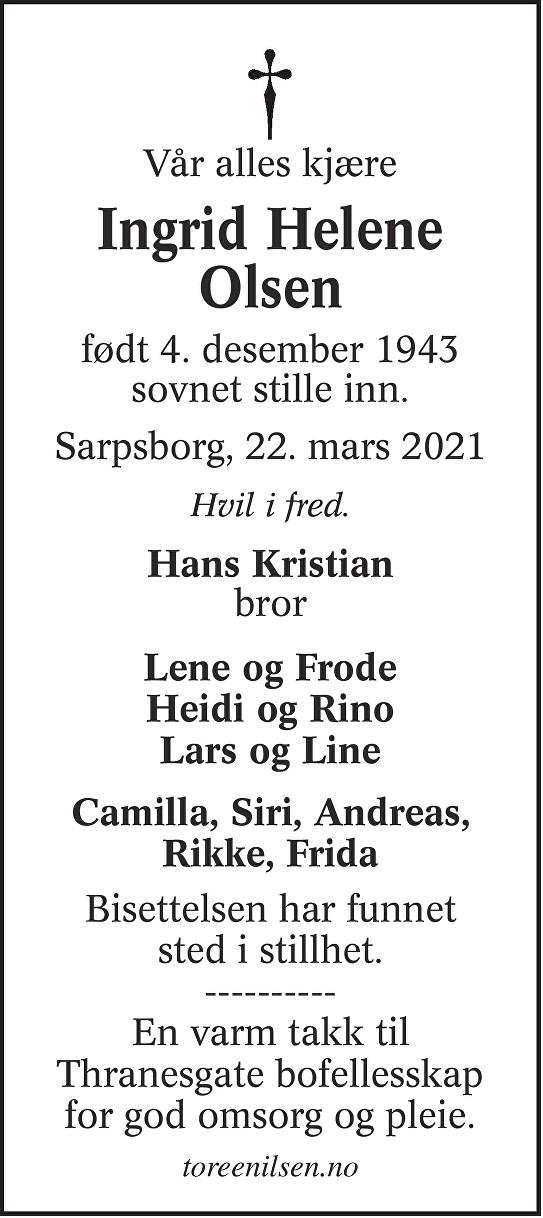 Ingrid Helene Olsen Dødsannonse