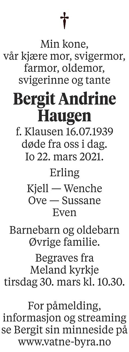 Bergit Andrine Haugen Dødsannonse