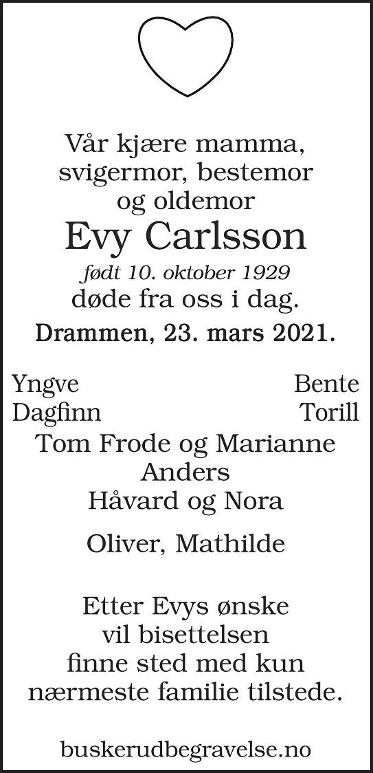 Evy Carlsson Dødsannonse