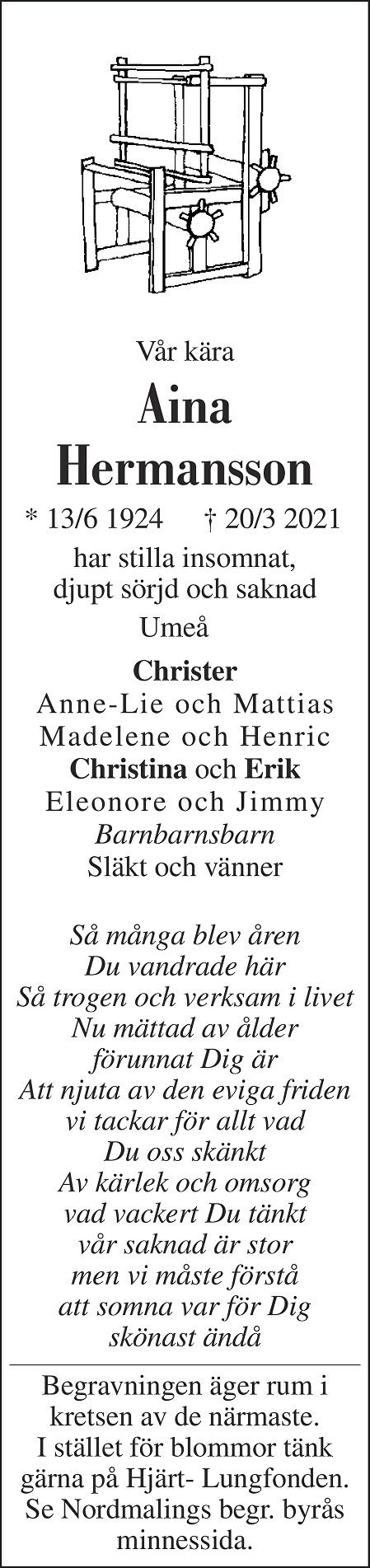 Aina Hermansson Death notice