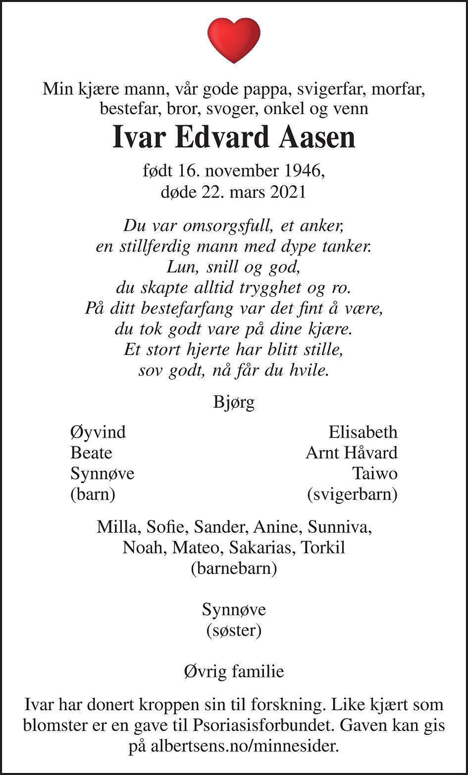 Ivar Edvard Aasen Dødsannonse