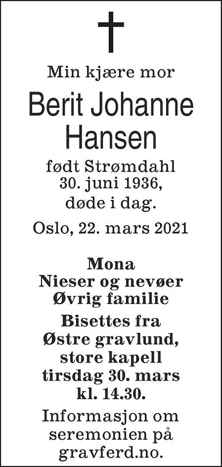 Berit Johanne Hansen Dødsannonse