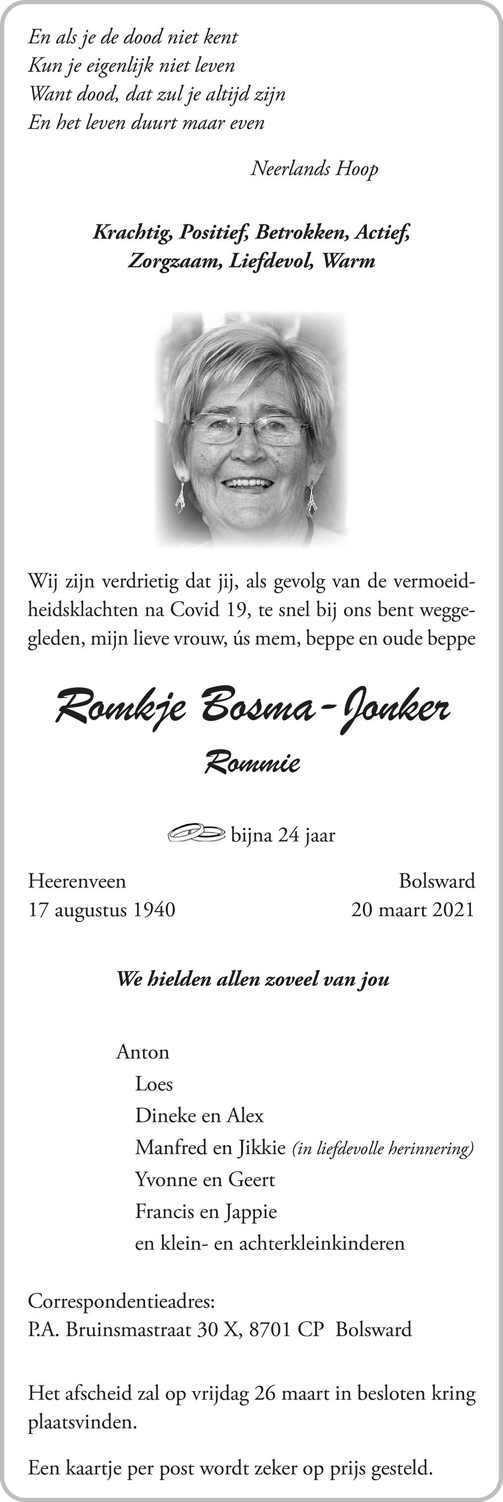 Romkje Bosma-Jonker Death notice