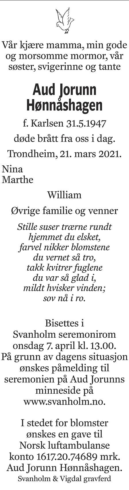 Aud Jorunn Hønnåshagen Dødsannonse