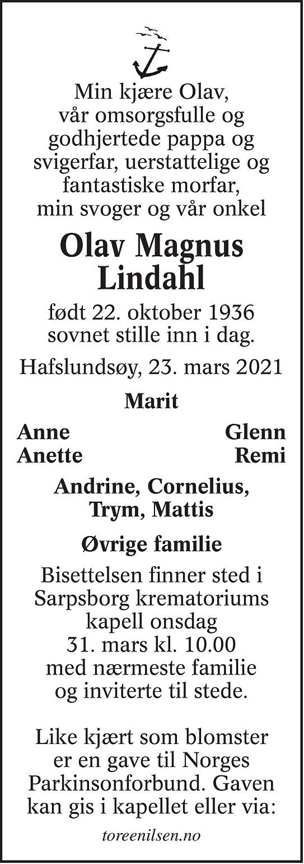 Olav Magnus Lindahl Dødsannonse