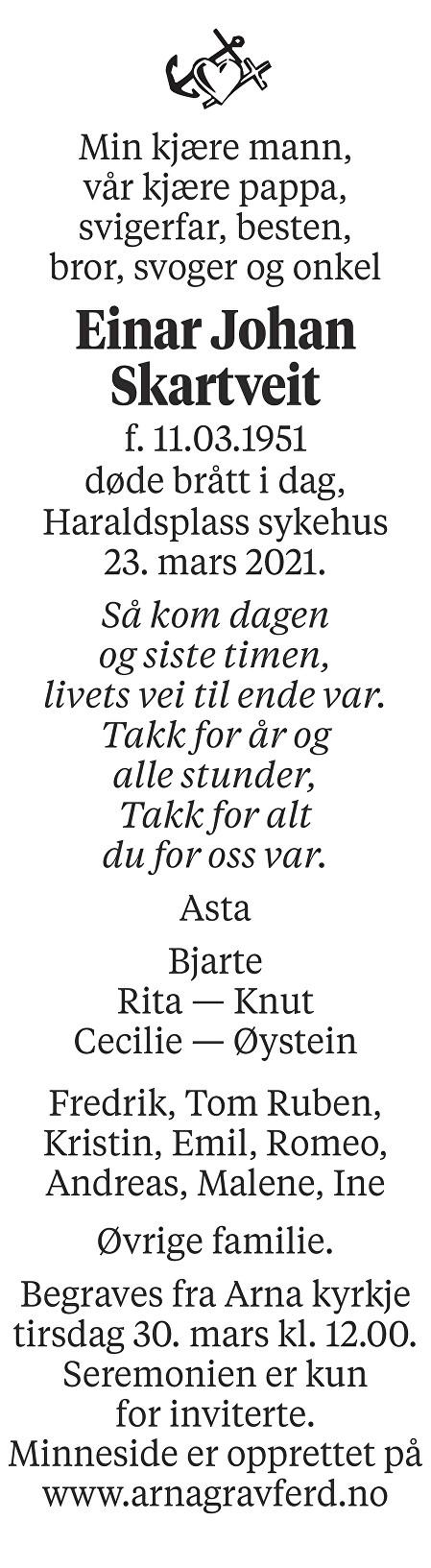 Einar Johan Skartveit Dødsannonse