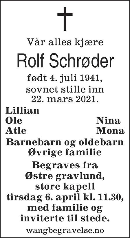 Rolf Schrøder Dødsannonse