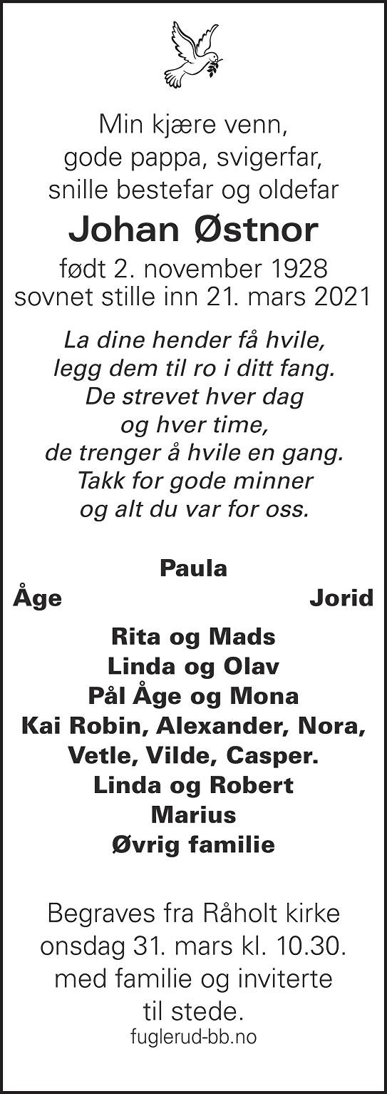 Johan Østnor Dødsannonse