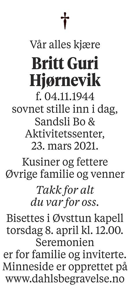 Britt Guri Hjørnevik Dødsannonse