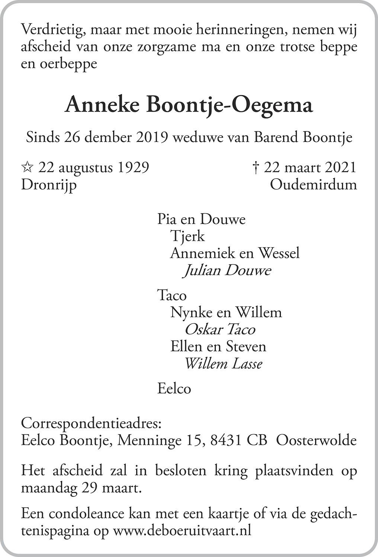 Anna Maria Boontje-Oegema Death notice
