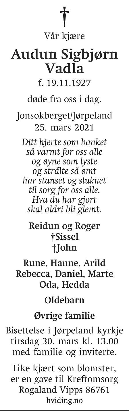 Audun Sigbjørn Vadla Dødsannonse