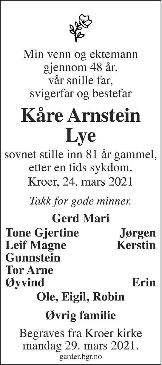 Kåre Arnstein Lye Dødsannonse