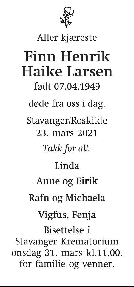 Finn Henrik Haike Larsen Dødsannonse