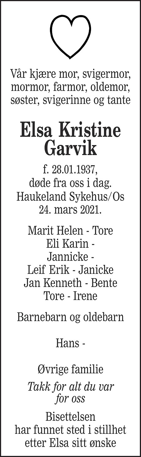 Elsa Kristine Garvik Dødsannonse