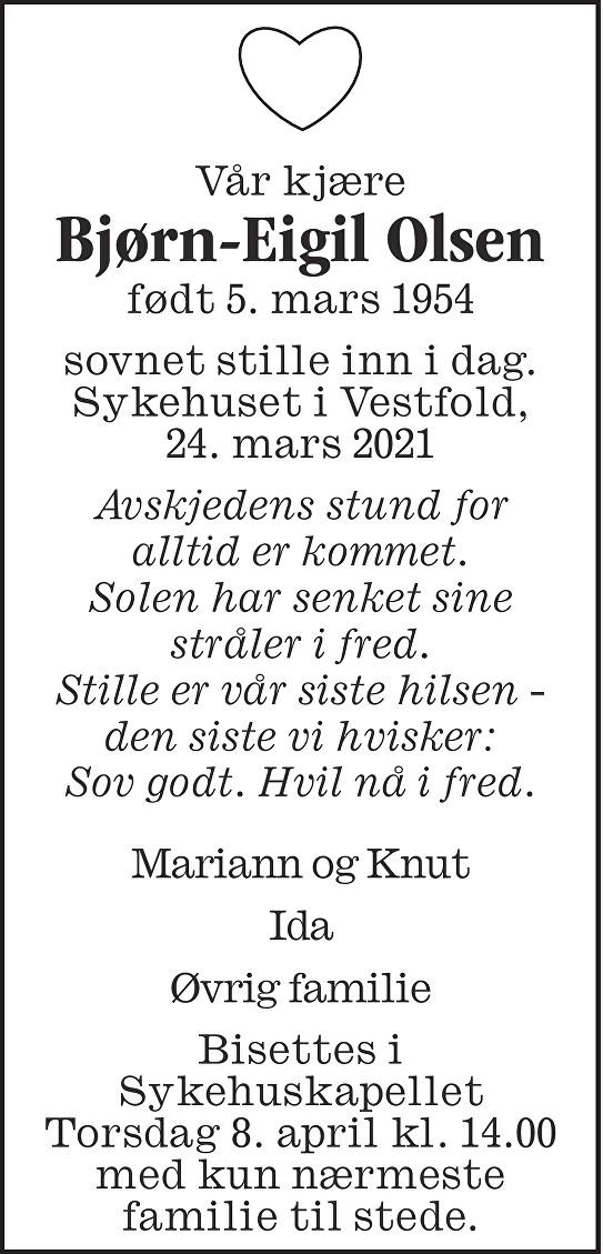 Bjørn-Eigil Olsen Dødsannonse