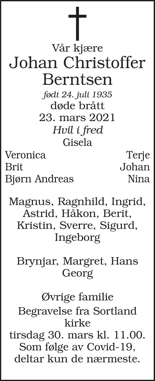 Johan Christoffer Berntsen Dødsannonse