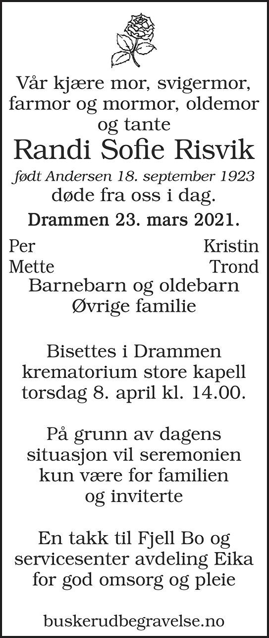 Randi Sofie Risvik Dødsannonse